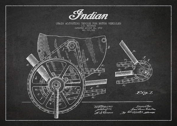 Indian Motorbike Poster featuring the drawing Indian Motorcycle Patent From 1902 by Aged Pixel