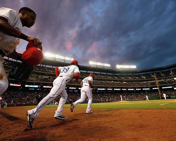 American League Baseball Poster featuring the photograph Kansas City Royals V Texas Rangers by Ronald Martinez