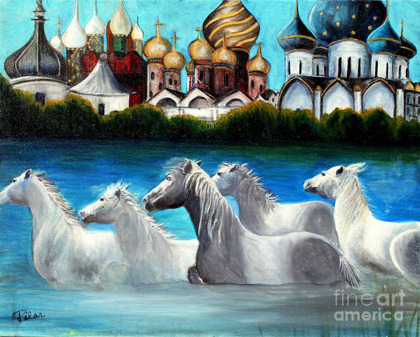 Russian Domes Poster featuring the painting Magical Horses by Pilar Martinez-Byrne