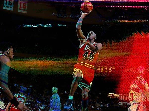 Michael Jordan Poster featuring the mixed media Michael Jordon by Marvin Blaine