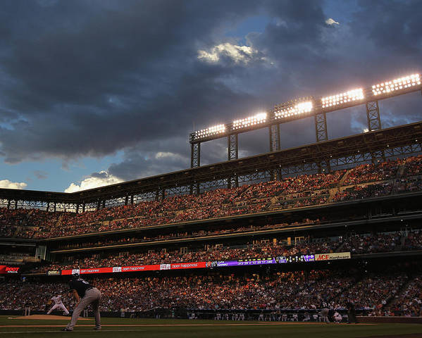 National League Baseball Poster featuring the photograph Milwaukee Brewers V Colorado Rockies by Doug Pensinger