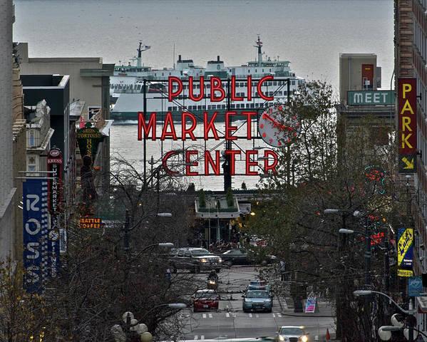 Seattle Public Market Center Poster featuring the photograph Public Market Center In Seattle by Hisao Mogi