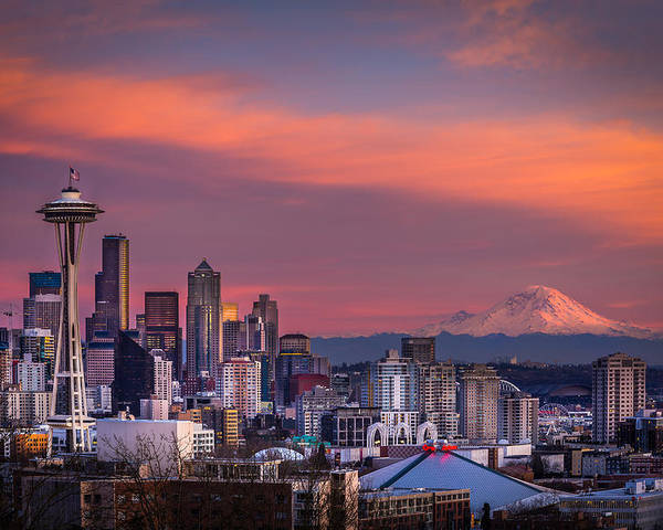 Seattle Poster featuring the photograph Seattle by Jon Reiswig