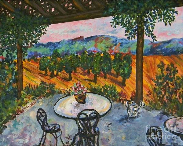Landscape Poster featuring the painting Spot To Wine And Dine by Emily Michaud