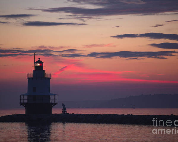 Lighthouse; Spring Point Lighthouse; Sunrise; Maine; Morning; Vibrant Color; Beacon; Beautiful; Ocean; Casco Bay; Clouds; Water Poster featuring the photograph Sunrise At Spring Point Lighthouse by Diane Diederich