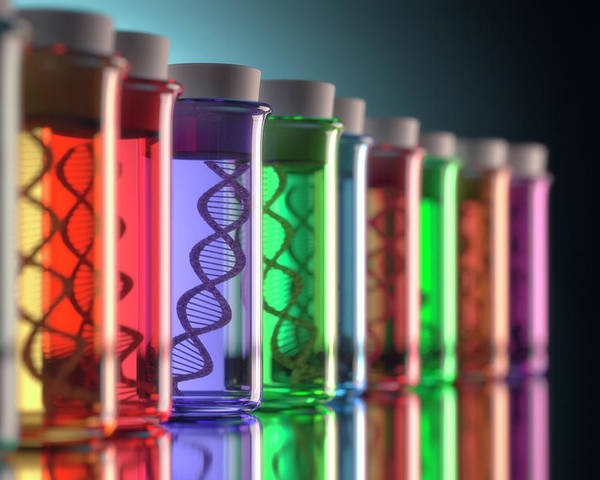 Artwork Poster featuring the photograph Test Tubes With Dna by Ktsdesign
