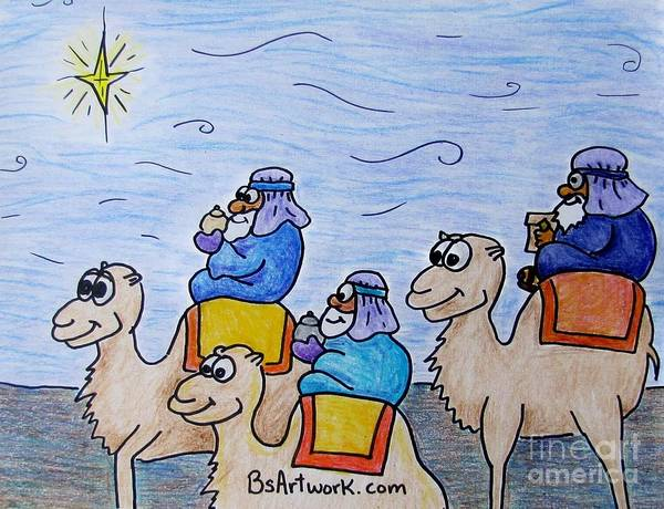 Camels Wise Men Jesus Christmas North Star Wizard Zoo Animals Gifts Noah Mary Baby Israel Bethlehem Bethlahem Bethlaham Poster featuring the drawing 3 Wise Men by Bruce Semon