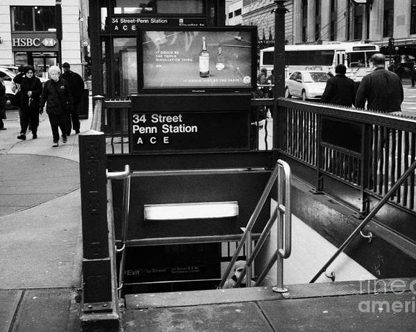 Usa Poster featuring the photograph 34th Street Entrance To Penn Station Subway New York City by Joe Fox