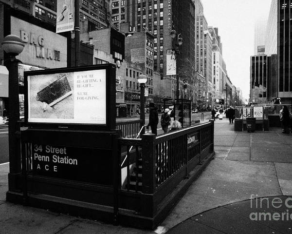 Usa Poster featuring the photograph 34th Street Entrance To Penn Station Subway New York City Usa by Joe Fox