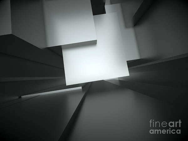 Abstract Poster featuring the photograph 3d Abstract Architectural Background by Christophe ROLLAND