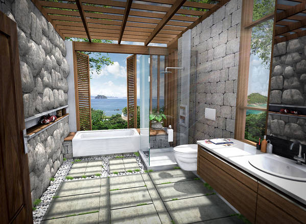 3d Poster featuring the digital art 3d Tropical Bathroom by Thanes