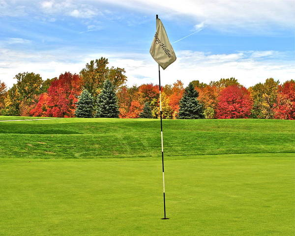 Golf Poster featuring the photograph Autumn Golf by Frozen in Time Fine Art Photography
