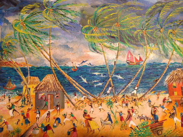 Scenery Of A Typical Caribbean Village By The Sea Poster featuring the painting Caribbean Village by Egidio Graziani