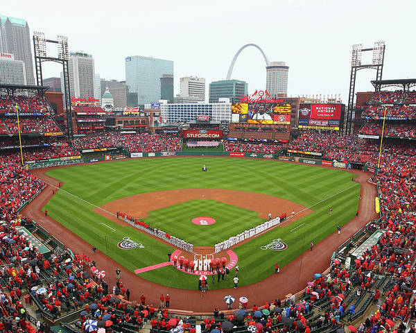 St. Louis Cardinals Poster featuring the photograph Cincinnati Reds V St. Louis Cardinals by Dilip Vishwanat