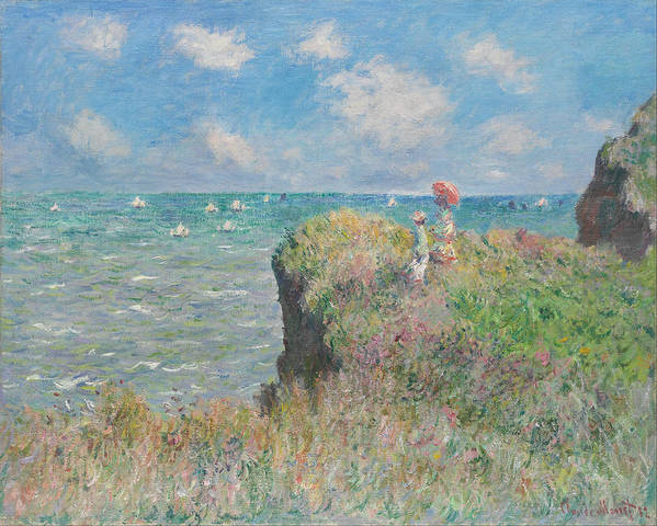 Claude Monet Poster featuring the painting Cliff Walk At Pourville by Claude Monet