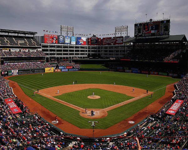 American League Baseball Poster featuring the photograph Houston Astros V Texas Rangers by Tom Pennington