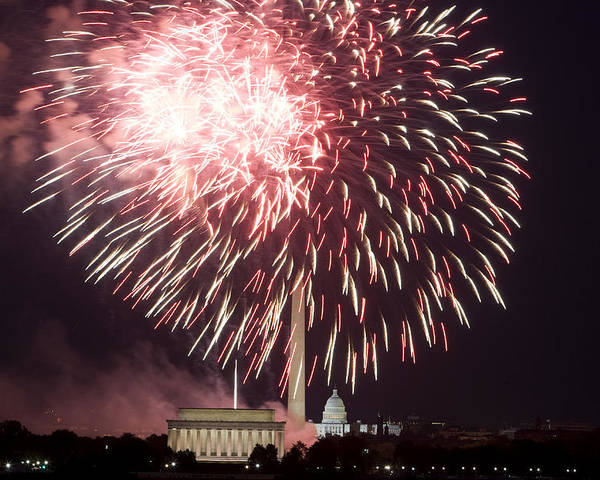 4th Of July Poster featuring the photograph July 4th Fireworks by JP Tripp