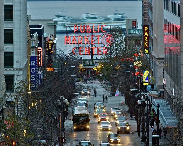 Pike Place Market In The Evening Light Poster featuring the photograph Public Market Center In Seattle by Hisao Mogi