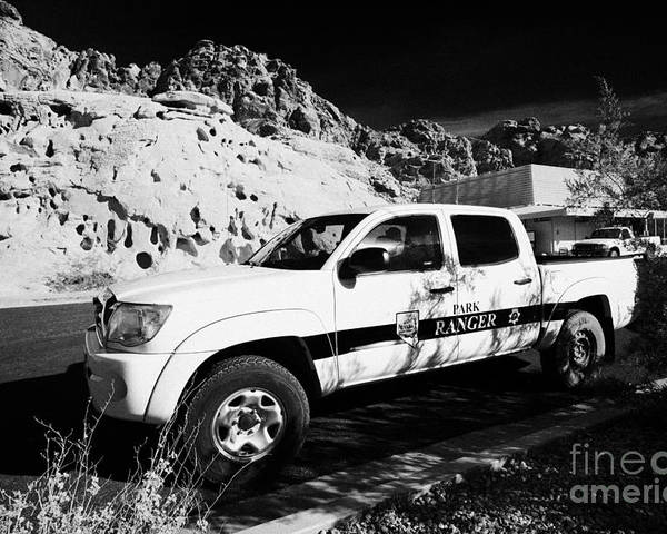 Valley Poster featuring the photograph State Park Ranger Vehicles At The Valley Of Fire State Park Nevada Usa by Joe Fox
