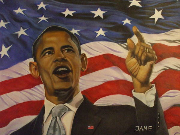 Barack Obama And American Flag Poster featuring the painting 44th President Of Change by Jamie Preston