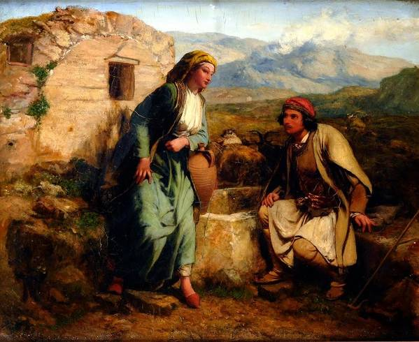 Paul Falconer Poole Poster featuring the painting Greek Shepherd And Maiden By A Well by MotionAge Designs