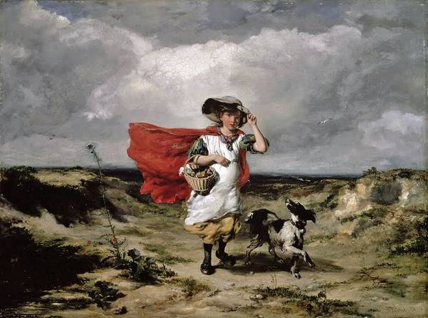 Paul Falconer Poole Poster featuring the painting Crossing The Heath Windy Day by MotionAge Designs