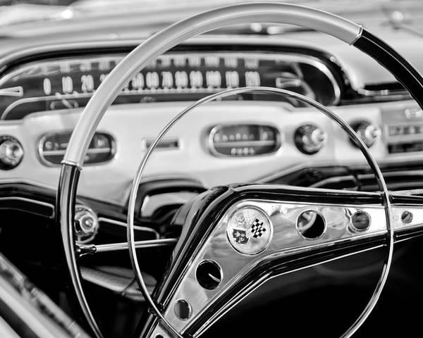 1958 Chevrolet Impala Steering Wheel Poster featuring the photograph 1958 Chevrolet Impala Steering Wheel by Jill Reger