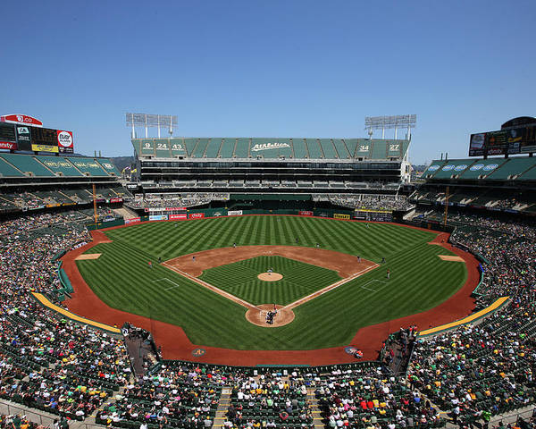 American League Baseball Poster featuring the photograph Houston Astros Vs. Oakland Athletics by Brad Mangin
