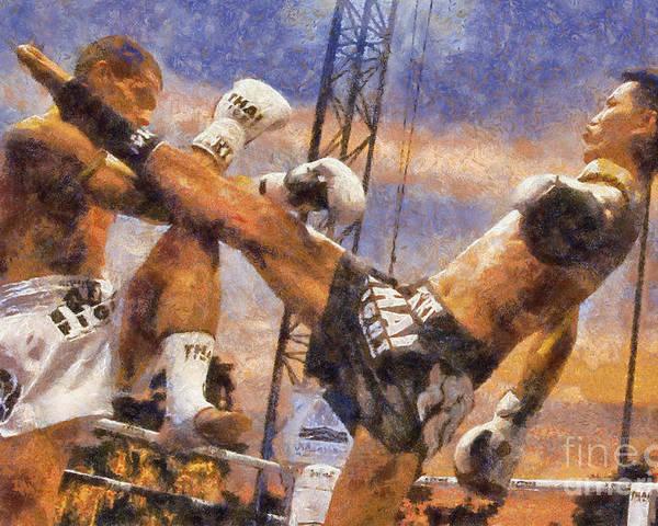 Muay Thai Poster featuring the digital art Muay Thai Arts Of Fighting by Rames Ratyantarakor