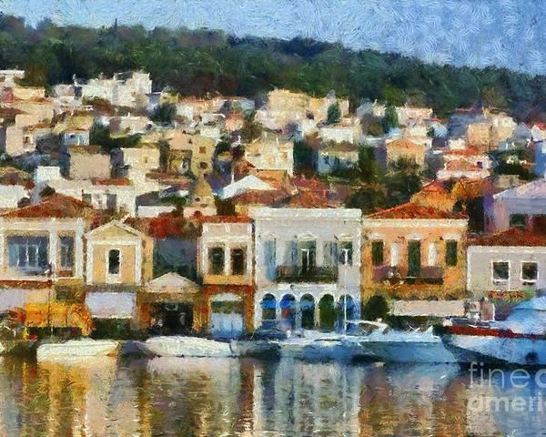 Lesvos; Lesbos; Mytilini; Mitilini; Mytilene; City; Town; Port Poster featuring the painting Mytilini Port by George Atsametakis