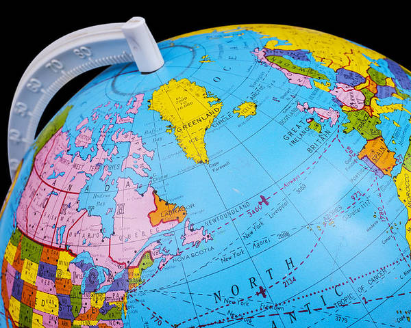 Old Rotating World Map Globe Poster by Donald Erickson
