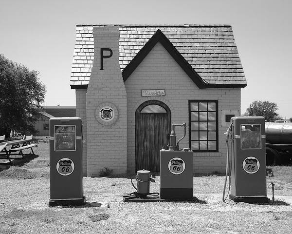 66 Poster featuring the photograph Route 66 - Phillips 66 Gas Station by Frank Romeo