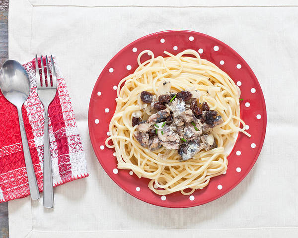 Above Poster featuring the photograph Sardines And Spaghetti by Tom Gowanlock