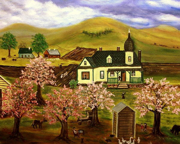 Folk Art Poster featuring the painting Spring Time by Kenneth LePoidevin