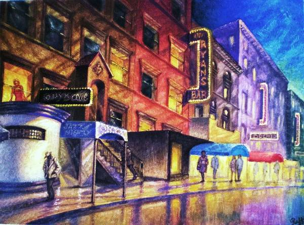 New York Poster featuring the painting 52nd. St. by Raffi Jacobian