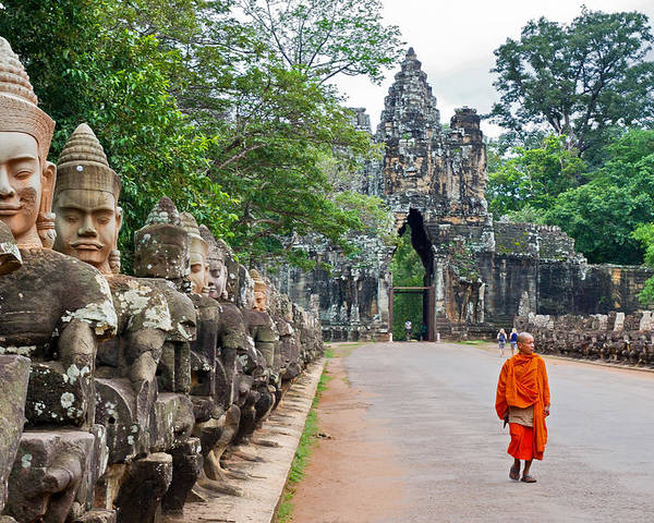 Cambodia Poster featuring the photograph 54 Gods And A Monk by David Freuthal