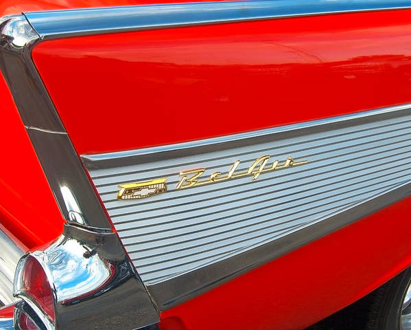 1957 Poster featuring the photograph 57 Chevy Tail Fin by Don Durante Jr