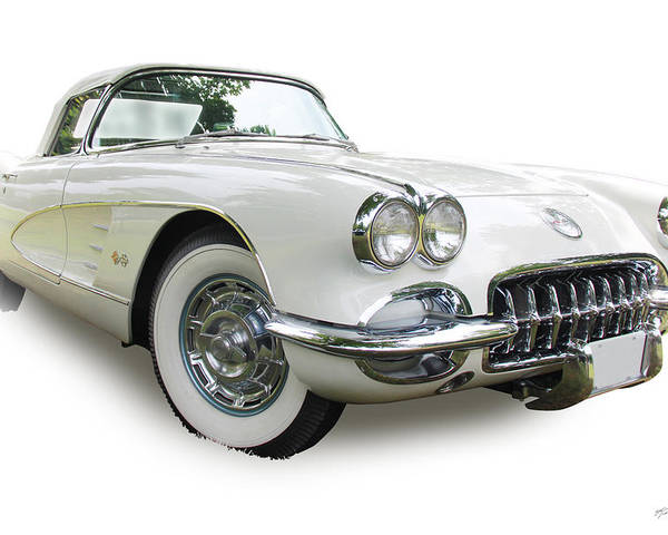 1959 Poster featuring the photograph 59-60 Corvette White On White by Kevin Doty