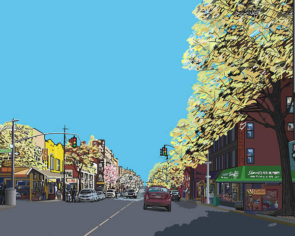 Landscape Poster featuring the digital art 5th Ave And Garfield Park Slope Brooklyn by James Mingo