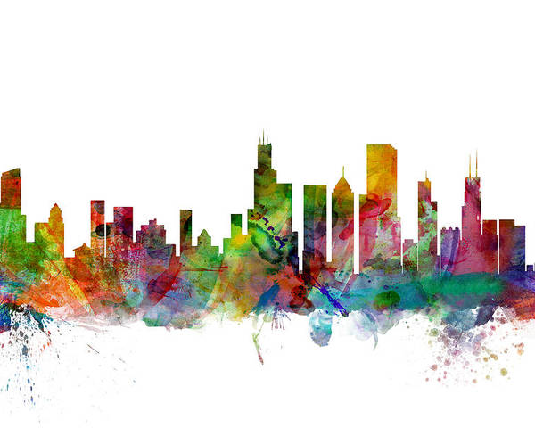 Chicago Poster featuring the digital art Chicago Illinois Skyline by Michael Tompsett