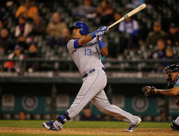 Salvador Perez Diaz Poster featuring the photograph Kansas City Royals V Seattle Mariners by Otto Greule Jr