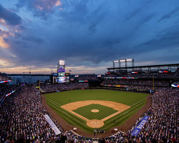 National League Baseball Poster featuring the photograph Los Angeles Dodgers V Colorado Rockies by Justin Edmonds