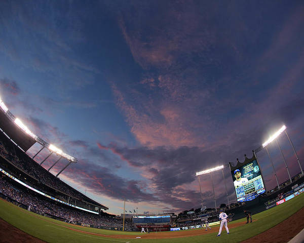 American League Baseball Poster featuring the photograph Los Angeles Dodgers V Kansas City Royals by Ed Zurga