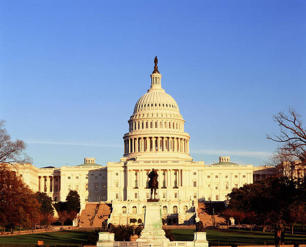 Adnt Poster featuring the photograph Usa, Washington Dc, Capitol Building by Walter Bibikow