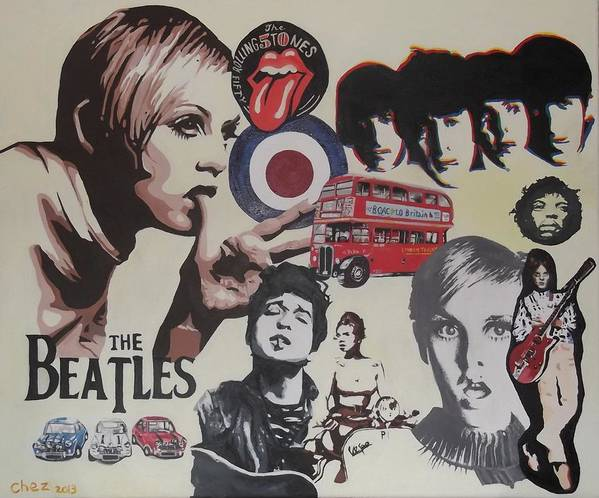 60's Montage Poster featuring the painting 60's Montage by Cherise Foster