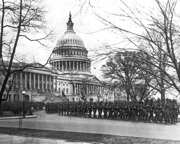 1920 Poster featuring the photograph 63rd Infantry Ready In Dc by Underwood Archives