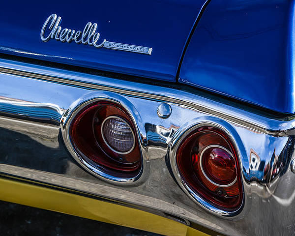 Car Poster featuring the photograph 67 Chev Taillight by Mike Watts