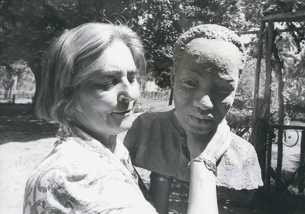 retro Images Archive Poster featuring the photograph British-born Sculptress Completes Bust Of President Nyerere by Retro Images Archive