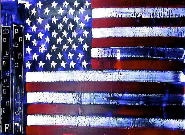 Richard Sean Manning Poster featuring the painting 9-11 Flag by Richard Sean Manning