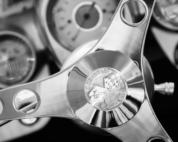 1960 Chevrolet Corvette Steering Wheel Emblem Poster featuring the photograph 1960 Chevrolet Corvette Steering Wheel Emblem by Jill Reger
